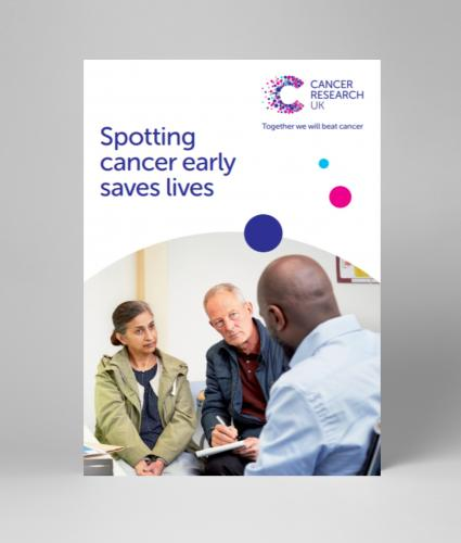 A5 leaflet covering cancer screening and the importance of early diagnosis